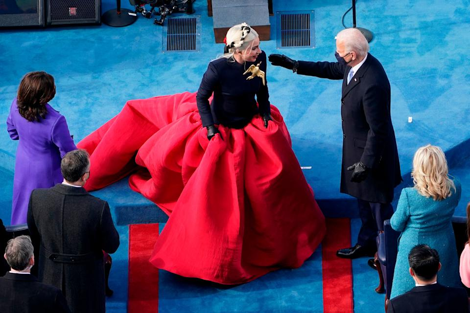 President-elect Joe Biden greets Lady Gaga during the 59th Presidential Inauguration at the US Capitol in Washington, January 20, 2021.  (Photo: SUSAN WALSH via Getty Images)