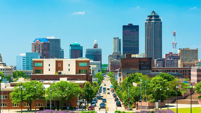 Des Moines skyline view with Downtown Des Moines, elevated view.
