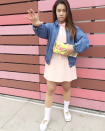"""<p>It doesn't take any super powers to put this ensemble together—just a few closet staples, like a pink dress and a jean jacket. </p><p><a class=""""link rapid-noclick-resp"""" href=""""https://www.instagram.com/p/Ba8CZaah7Sr/"""" rel=""""nofollow noopener"""" target=""""_blank"""" data-ylk=""""slk:SEE MORE"""">SEE MORE</a></p><p><a class=""""link rapid-noclick-resp"""" href=""""https://www.amazon.com/Aphratti-Womens-Sleeve-Casual-Collar/dp/B07MHMMVJX/?tag=syn-yahoo-20&ascsubtag=%5Bartid%7C10072.g.33547559%5Bsrc%7Cyahoo-us"""" rel=""""nofollow noopener"""" target=""""_blank"""" data-ylk=""""slk:SHOP DRESS"""">SHOP DRESS</a></p>"""