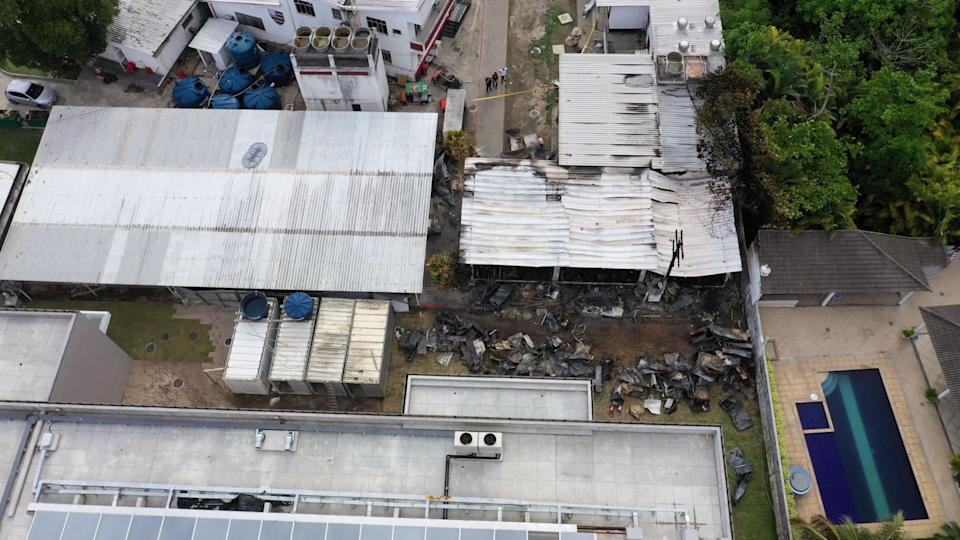 Aerial view of the Brazilian Flamengo football club training center after a building that housed players aged 14 to 17 caught fire at dawn in Vargem Grande neighborhood, west of Rio de Janeiro, Brazil, on February 8, 2019. - Brazilian football was in mourning on Friday after 10 people died when a fire ripped through a youth training facility at the country's most popular club, Flamengo, authorities said. (Photo by Marie HOSPITAL / AFP)        (Photo credit should read MARIE HOSPITAL/AFP via Getty Images)
