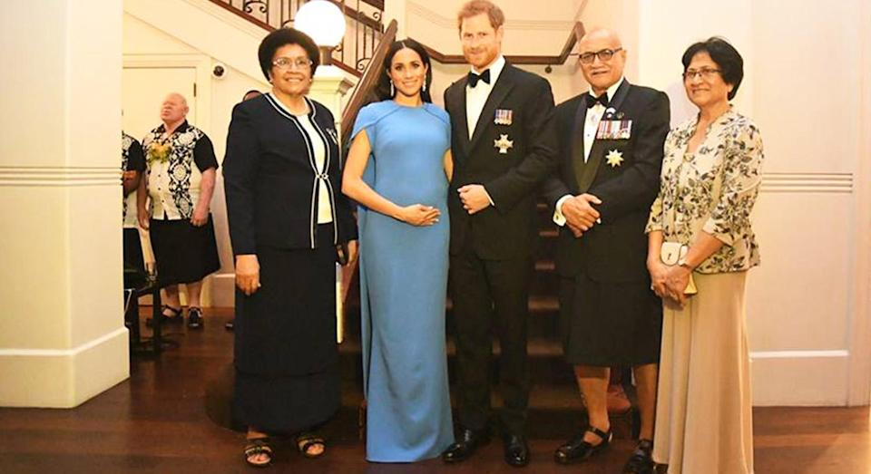 The Duke and Duchess of Sussex pictured with the President and First Lady of Fiji. [Photo: Twitter/@FijianGovt)