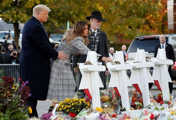 PHOTO: President Donald Trump and first lady Melania Trump place stones on a memorial to shooting victims as they stand with Tree of Life Synagogue Rabbi Jeffrey Myers outside the synagogue in Pittsburgh, Oct. 30, 2018. (Kevin Lamarque/Reuters, FILE)