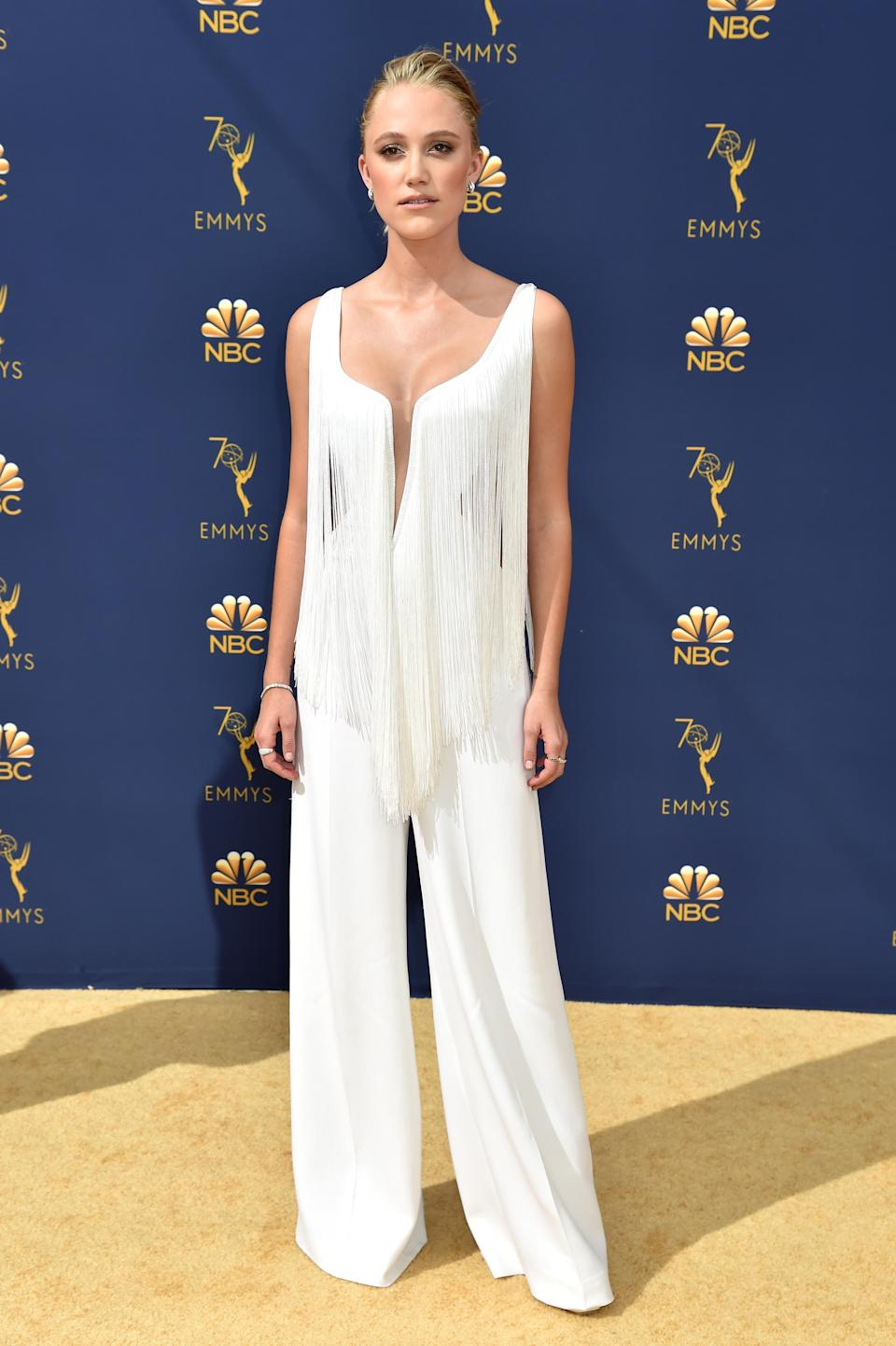 <p>Monroe turned heads in a Stella McCartney jumpsuit with fringe details. (Photo: Getty Images) </p>