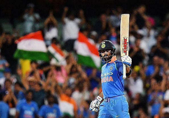 Virat Kohli played an unbeaten 72-run knock against Australia at Bengaluru in February 2019