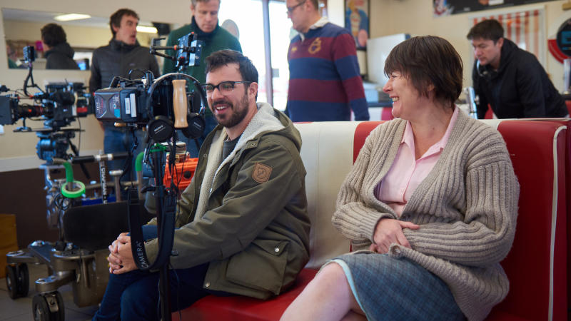 Simon Bird and Monica Dolan on the set of 'Days of the Bagnold Summer'. (Credit: Altitude Films/Rob Baker Ashton)