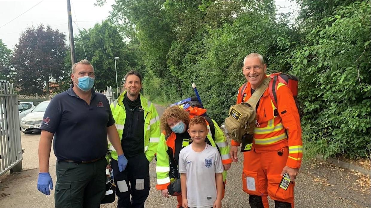 Archie with members of Norfolk Accident and Rescue Service, including Steve Maddams (left) (Kayleigh Hurren/PA)