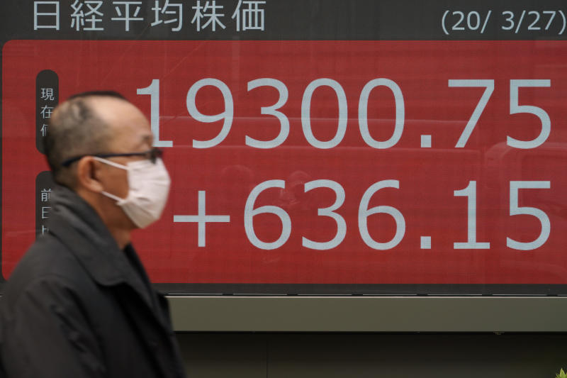A man walks past an electronic stock board showing Japan's Nikkei 225 index at a securities firm in Tokyo Friday, March 27, 2020. Shares are mostly higher in Asia after stocks surged again on Wall Street with the approaching approval of a massive coronavirus relief bill by Congress. (AP Photo/Eugene Hoshiko)