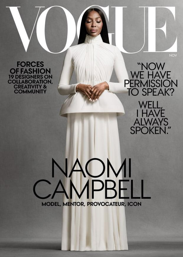 Vogue's November 2020 cover featuring Naomi Campbell.