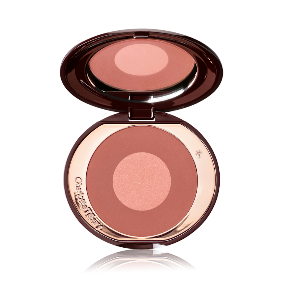 """<p><strong>Copper</strong></p> <p>Charlotte Tilbury Cheek to Chic Blush Pillow Talk Intense amps up the original, <a href=""""https://www.allure.com/story/celebrities-love-charlotte-tilbury-matte-revolution-lipstick-pillow-talk?mbid=synd_yahoo_rss"""" rel=""""nofollow noopener"""" target=""""_blank"""" data-ylk=""""slk:celebrity-beloved Pillow Talk shade"""" class=""""link rapid-noclick-resp"""">celebrity-beloved Pillow Talk shade</a> for a rosy-tinted hue that looks stunning on olive skin tones. To contour, use a <a href=""""https://www.allure.com/gallery/best-of-beauty-makeup-brush-hot-tool-winners?mbid=synd_yahoo_rss"""" rel=""""nofollow noopener"""" target=""""_blank"""" data-ylk=""""slk:fan brush or angled powder brush"""" class=""""link rapid-noclick-resp"""">fan brush or angled powder brush</a> to sweep the bronzer onto the hollows of the cheeks. """"If you need help, make fish lips,"""" says Ciucci.</p> <p>The key here is a buildable formula and using a light hand, which minimizes the risk of applying too much product at once. """"On fair olive skin, you can stop with one stroke, but on medium or deep olive skin, you can layer a few more swipes,"""" she says. """"Then smile and apply the bronzer to the apples of the cheeks for a brightening effect.""""</p> <p><strong>$40</strong> (<a href=""""https://www.charlottetilbury.com/us/product/cheek-to-chic-pillow-talk-intense"""" rel=""""nofollow noopener"""" target=""""_blank"""" data-ylk=""""slk:Shop Now"""" class=""""link rapid-noclick-resp"""">Shop Now</a>)</p>"""