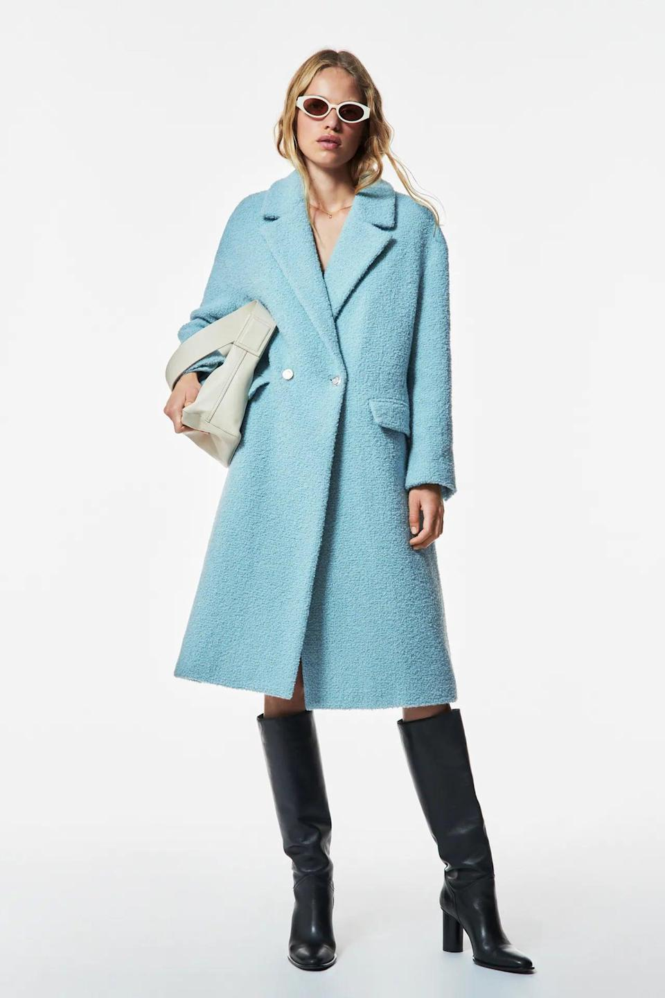 <p>This <span>Zara Wool Coat</span> ($219) is warm and cozy. Plus, the light blue is so beautiful.</p>