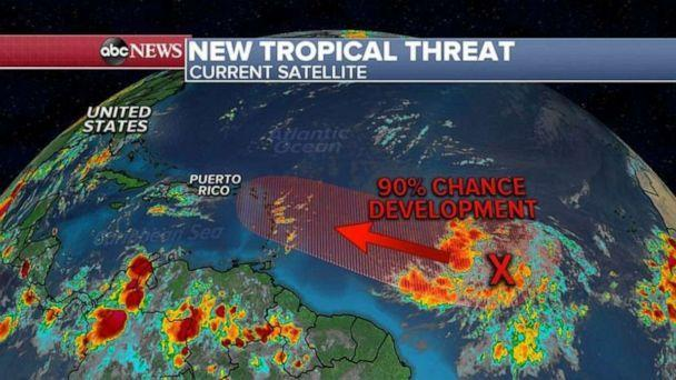 PHOTO: Now, attention turns to the East where a new tropical system is developing in the Atlantic and, in the next 24 hours, it could become a tropical depression or a tropical storm. If it becomes a tropical storm it would be Isaias. (ABC News)