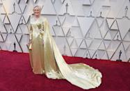 """<p>The Best Actress nominee and star of """"The Wife"""" looked regal in gold as she arrived at the Oscars. (Image via Getty Images) </p>"""