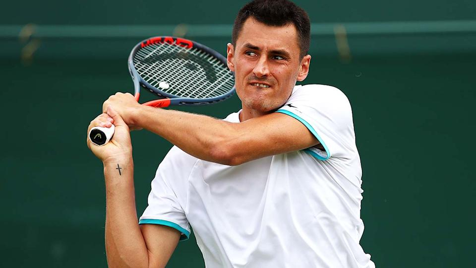 Bernard Tomic, pictured here at Wimbledon in 2019.