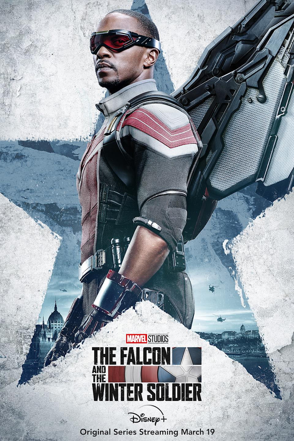 Anthony Mackie as Sam Wilson aka The Falcon in character posters for Marvel Studios' Disney+ series, The Falcon And The Winter Soldier.