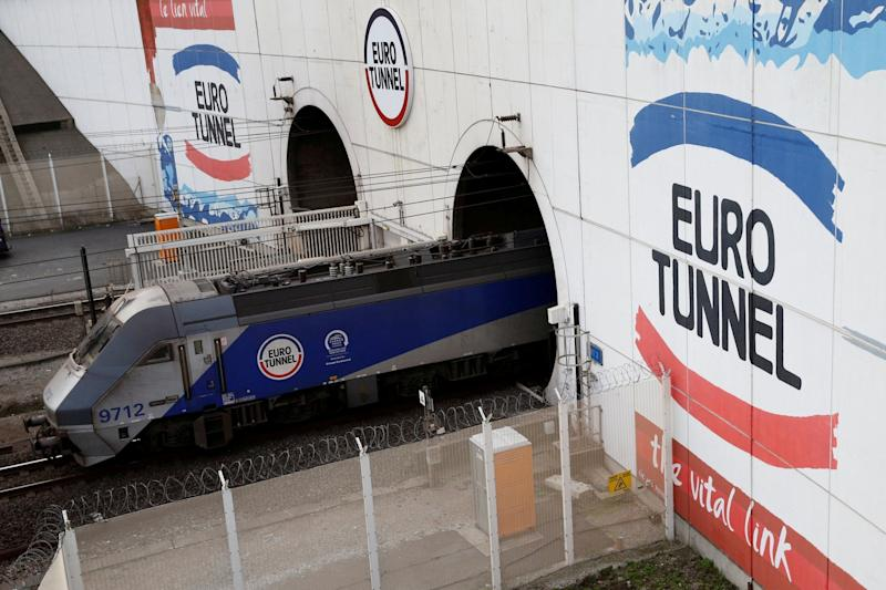 A Eurotunnel freight shuttle exits the Channel Tunnel in Coquelles, near Calais, northern France: REUTERS