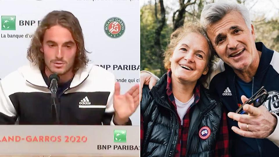 Pictured here, Stefanos Tsitsipas, his mum Julia and father Apostolos.