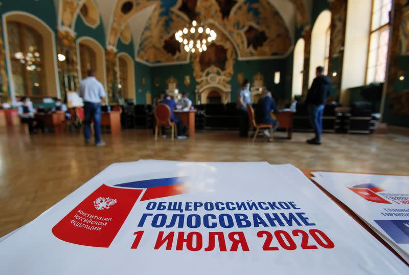 Information placards are on display at a mobile polling station during a nationwide vote on constitutional reforms in Moscow