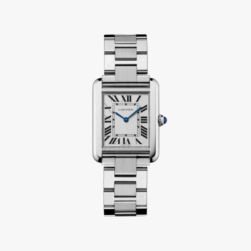 "$2730, CARTIER. <a href=""https://www.cartier.com/en-us/collections/watches/women-s-watch/tank-all/w5200013-tank-solo-watch.html"" rel=""nofollow noopener"" target=""_blank"" data-ylk=""slk:Get it now!"" class=""link rapid-noclick-resp"">Get it now!</a>"