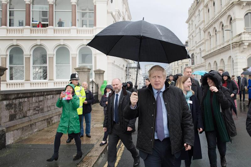 Prime Minister Boris Johnson in Plymouth, Devon, whilst on the General Election campaign trail.