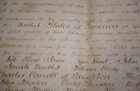 A rare handwritten copy of the U.S. Declaration of Independence is seen at the West Sussex Record Office in Chichester in south England, Britain, April 27, 2017. REUTERS/Hannah McKay