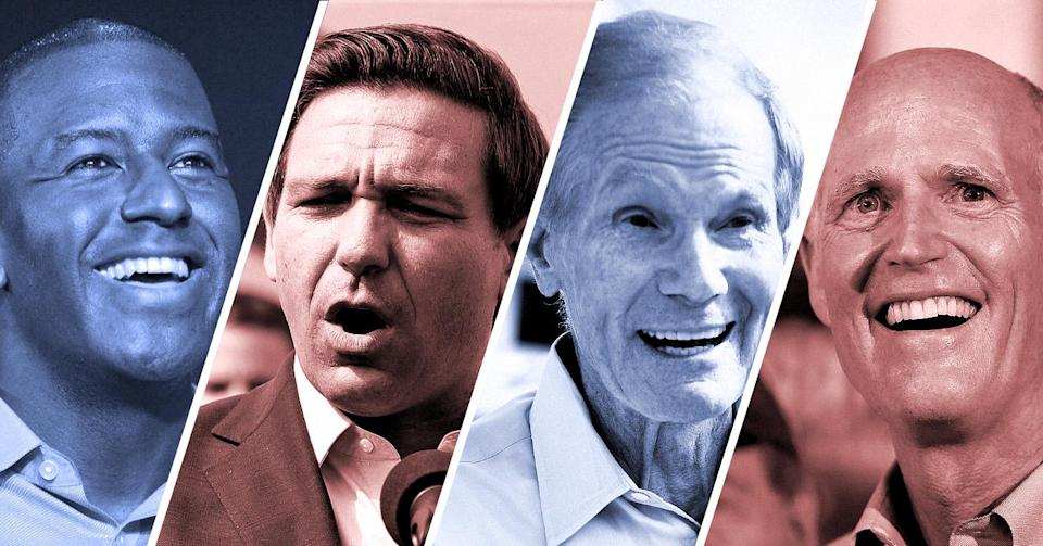 Left to right: Democratic gubernatorial candidate Andrew Gillum, Republican gubernatorial candidate Ron DeSantis, incumbent Democratic Sen. Bill Nelson and Republican Gov. Rick Scott, who is challenging Nelson for the Senate. (Photo-illustration: Yahoo News; photos: MPI10/MediaPunch/IPX/Getty Images, John Raoux/AP, Jeff J. Mitchell/Getty Images, Joe Raedle/Getty Images)
