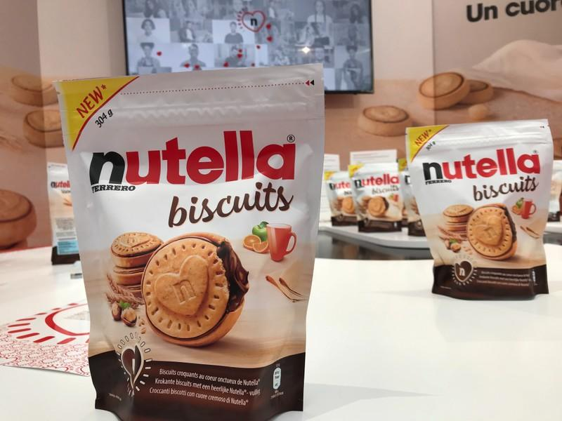 Packages of Nutella biscuits are displayed during a presentation in Milan