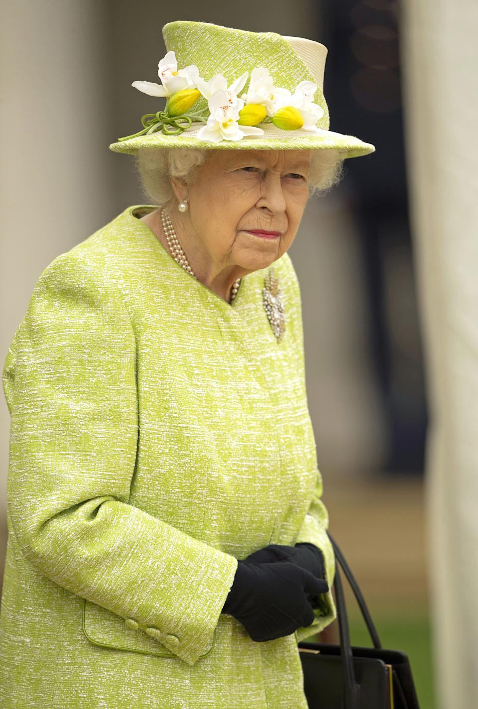 Queen Elizabeth II during a visit to the CWGC Air Forces Memorial in Runnymede, Surrey, to attend a service to mark the Centenary of the Royal Australian Air Force. Picture date: Wednesday March 31, 2021.
