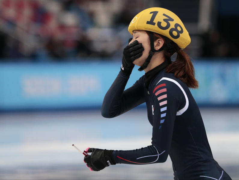 Park Seung-hi of South Korea reacts after competing in a women's 500m short track speedskating final at the Iceberg Skating Palace during the 2014 Winter Olympics, Thursday, Feb. 13, 2014, in Sochi, Russia. (AP Photo/Ivan Sekretarev)