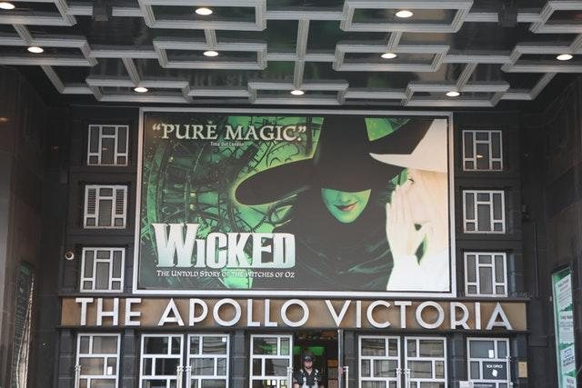 The Apollo Victoria Theatre showing posters from the production Wicked