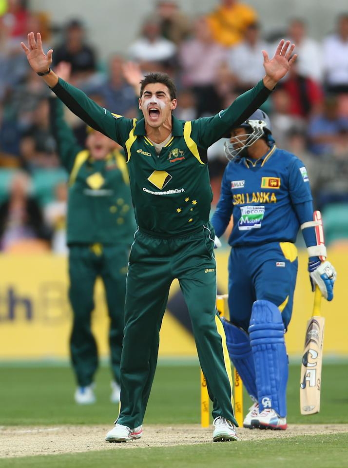 HOBART, AUSTRALIA - JANUARY 23: Mitchell Starc of Australia appeals unsuccessfully for the wicket of Tillakaratne Dilshan of Sri Lanka during game five of the Commonwealth Bank One Day International Series between Australia and Sri Lanka at Blundstone Arena on January 23, 2013 in Hobart, Australia.  (Photo by Robert Cianflone/Getty Images)
