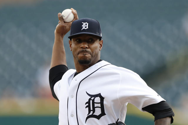 Detroit Tigers starting pitcher Edwin Jackson throws during the first inning of a baseball game against the Seattle Mariners, Wednesday, Aug. 14, 2019, in Detroit. (AP Photo/Carlos Osorio)