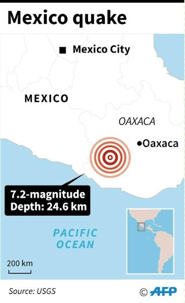 Map showing the epicentre of a 7.2-magnitude quake that hit Mexico Friday