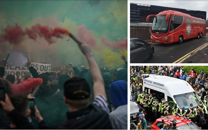 The Liverpool bus is blocked ahead of kick-off as Man Utd fans protest outside Old Trafford - GETTY IMAGES