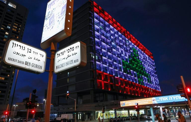 The city hall in the Israeli coastal city of Tel Aviv is lit up in the colours of the Lebanese national flag in a gesture of solidarity after the devastating blasts in Beirut