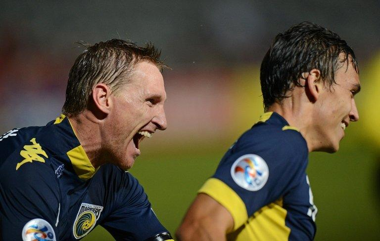 Daniel McBreen (L) and Trent Sainsbury, seen during an AFC Champions League match at Gosford, on April 3, 2013