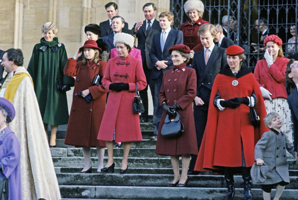 Members of the Royal Family, including Princess Margaret, outside St George's Chapel when Christmas was held in Windsor in 1980. (Tim Graham Photo Library via Getty Images)
