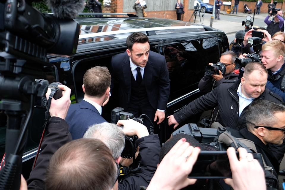 TV presenter Anthony McPartlin was swamped by reporters and photographers on arrival. (PA)