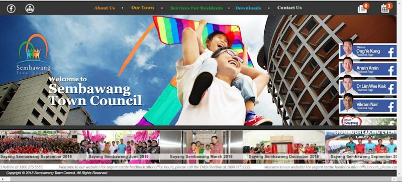 Homepage, one centimetre later. Screenshot: Sembawang Town Council website