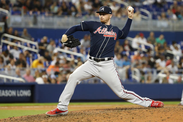 Atlanta Braves' Sean Newcomb pitches during the eighth inning of a baseball game against the Miami Marlins, Sunday, Aug. 11, 2019, in Miami. (AP Photo/Wilfredo Lee)