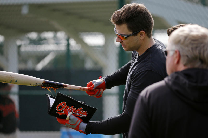 Baltimore Orioles' Chris Davis puts pine tar on his bat during batting practice at the baseball team's spring training facility in Sarasota, Fla., Thursday, Feb. 13, 2014. Orioles pitchers and catchers are scheduled for their first workout Friday, with the first full-squad workout Wednesday. (AP Photo/Gene J. Puskar)