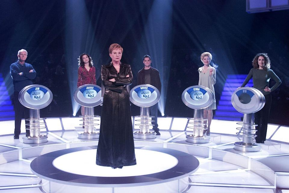 """<p><em>Weakest Link </em>was originally a hit in the U.K. before NBC filmed its own version in the U.S. 2001. Anne Robinson, the host from the BBC version, brought her sharp style with the classic line, """"You are the weakest link. Goodbye!"""" When the show syndicated in 2002, George Gray took over hosting duties.</p>"""