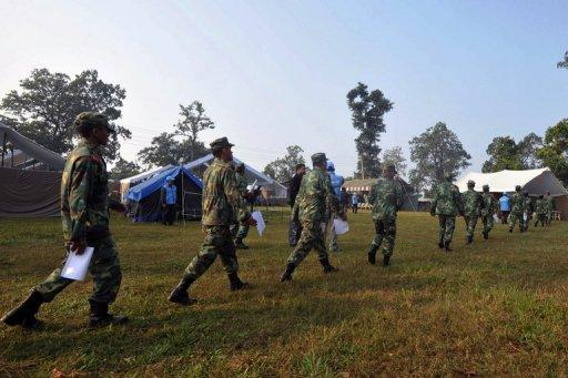 File photo shows the Nepalese People's Liberation Army lining up for registration at the Shaktikhor cantonment site