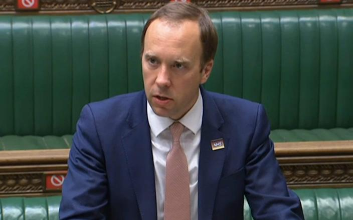 Health Secretary Matt Hancock makes a statement to the House about the Covid-19 pandemic - House of Commons/ PA Wire