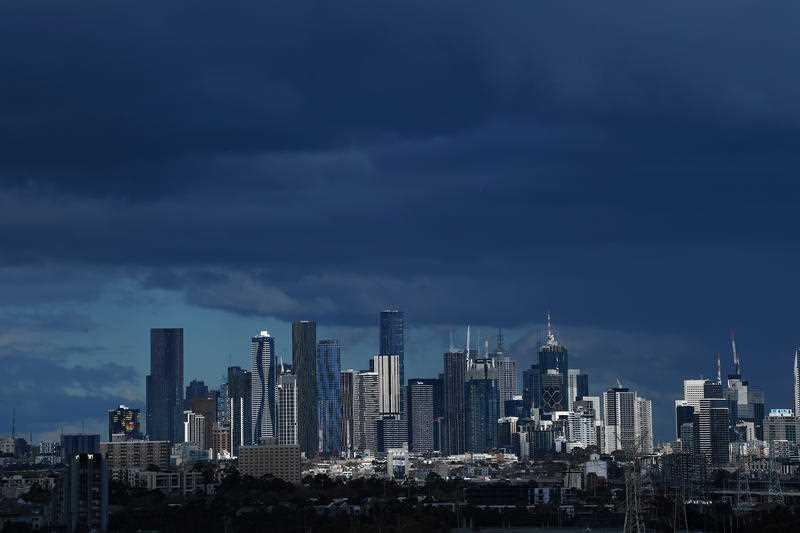General view of the Skyline in Melbourne ahead of a storm.