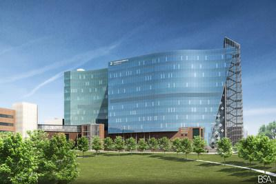 Rendering of The Children's Research Institute at Children's Mercy Kansas City. The facility is thanks in part to a $150 million donation; the largest one-time gift made to a children's hospital for pediatric research.