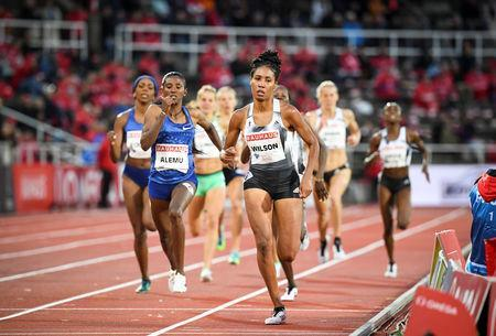 Athletics - IAAF Diamond League meeting - Women's 800m race - Stockholm Olympic Stadium, Stockholm, Sweden - May 30, 2019. Ajee Wilson of USA in action. Fredrik Sandberg /TT News Agency via REUTERS