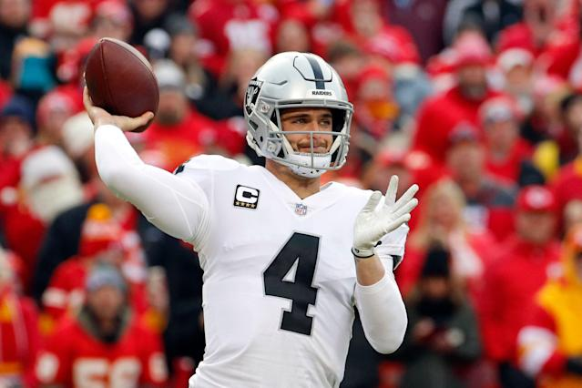 Oakland Raiders quarterback Derek Carr played pretty well for most of last season. (AP)