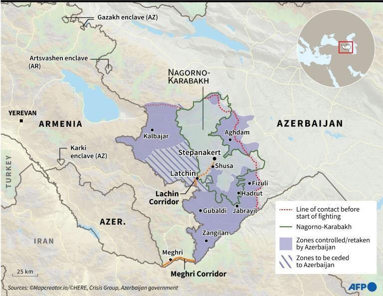 Map locating the disputed region of Nagorno-Karabakh with zones of control.