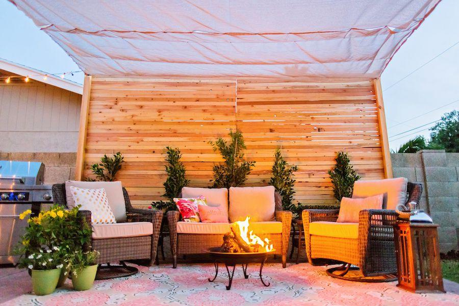 "<p>An elevated fire bowl allows you enjoy the comfort of a roaring blaze without having to fuss with installation. </p><p>See more at <a rel=""nofollow"" href=""http://www.classyclutter.net/2015/04/backyard-makeover/"">Classy Clutter</a>.</p>"