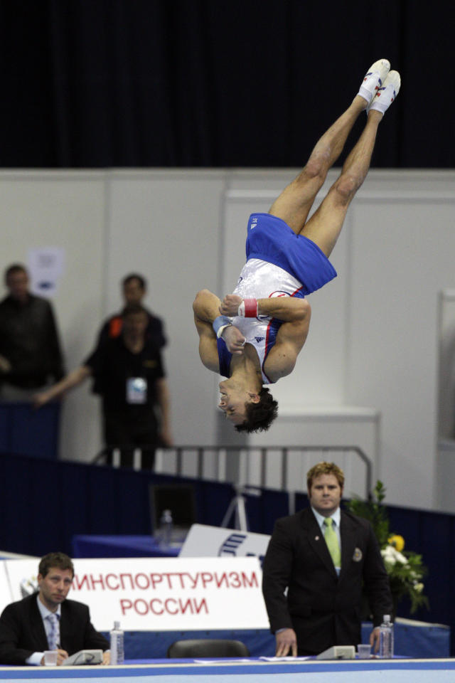 France's Thomas Bouhail competes for the gold medal on the floor exercise in the individual event finals during Gymnastics World Stars World Cup 2011 in Moscow, Russia, Saturday, May 14, 2011.